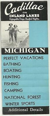 1940 Travel Guide Mailer CADILLAC ON INLAND LAKES MICHIGAN