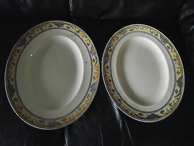 Two Large John Maddock & Sons Royal Ivory Oval Serving Platters