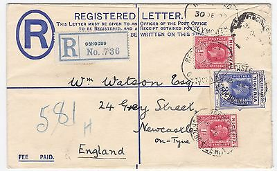 1927 Nigeria Oshogbo To England Uprated Registered Cover