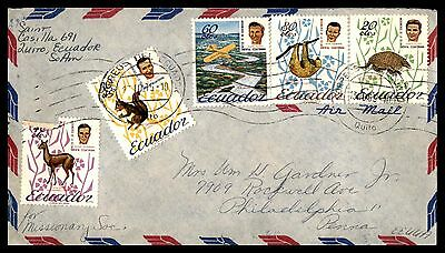 1969 Ecuador Airmail Cover To Us With Anmimal Issues