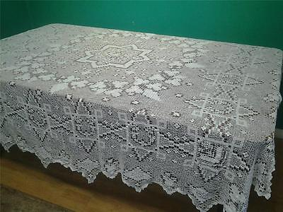 Superb antique tablecloth bed cover throw hand worked white lace 6'6 square