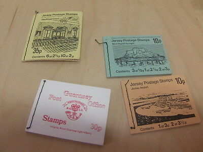 Jersey Postage Stamps (3 booklets) + Guernsey Postage Stamps (x1) early 1970s