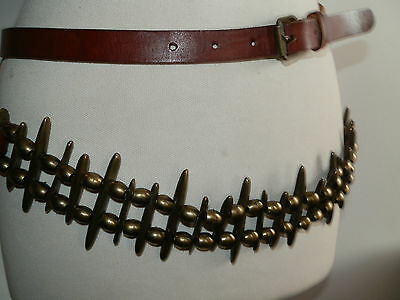 Vintage 80's Double Strap Leather Belt Heavy Brass Detail & Bullet Style Beads