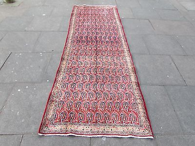 Old Shabby Chic Traditional Hand Made Persian Pink Wool WideRunner 300x100cm