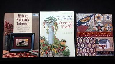 Instant Miniature PUNCHNEEDLE EMBROIDERY Library Lot of 3 Books Folk Art & More!