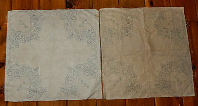 2 Vintage Stamped Linen Embroidery Cut Work Small Square Tablecloth