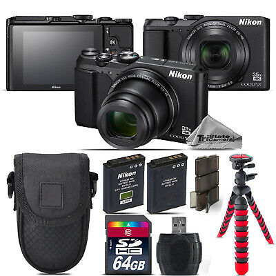 Nikon Coolpix A900 20MP Digital Camera Black 35x Optical Zoom - 64GB Kit Bundle