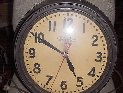 Original Vintage Telechron Electric  RED DOT  School House Industrial Wall Clock