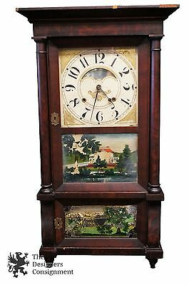 Birge & Gilbert 8 Day Triple Decker Weight Driven Mantel Clock Reverse Painted