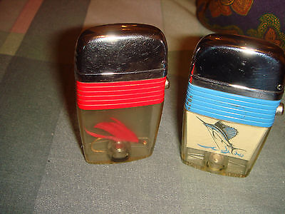 2 Scripto Red &blue Band Lighter   Fish Hook & Large Fish.  Very Good Condition
