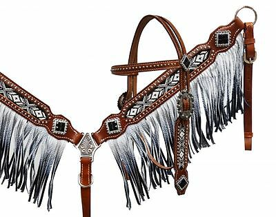Showman Black White Beaded Fringe Leather Bridle Headstall Breast Collar Reins