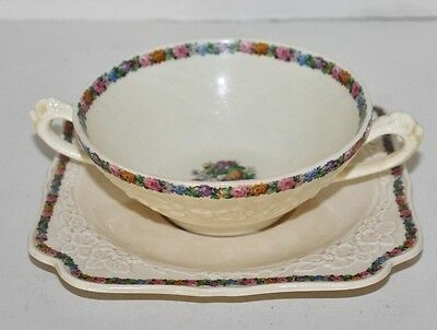 VTG Crown Ducal Gainsborough Floral Motif Square Cream Soup with UnderPlate