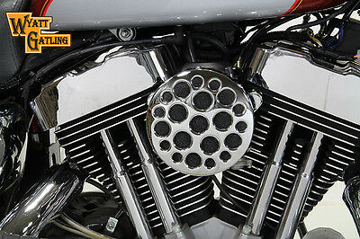 Chrome Wyatt Gatling Air Cleaner Assembly,for Harley Davidson motorcycles,by ...
