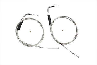 "46-1/4"" Stainless Steel Throttle and Idle Cable Set,for Harley Davidson motor..."
