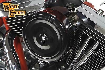Wyatt Gatling 7  Round Air Cleaner With Black Cover,for Harley Davidson motor...