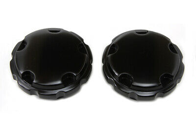 Black Techno Style Vented and Non-Vented Gas Cap Set fits Harley Davidson,V-T...