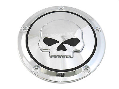 Skull Derby Cover Chrome,for Harley Davidson motorcycles,by V-Twin