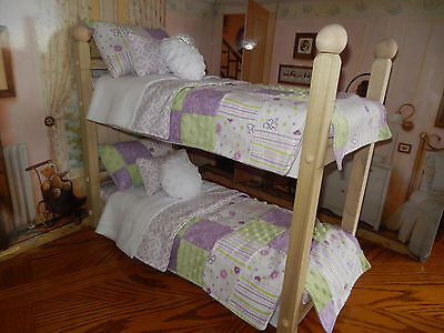 """American Made Bunk Bed Fits 18"""" Girl Doll-14 Pc Bed-Owl-Paris-+++-Fabric Choices"""