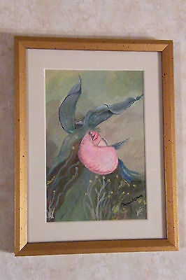 Framed Original Watercolor Painting PINK LADY SLIPPER ORCHID Signed MARTIN