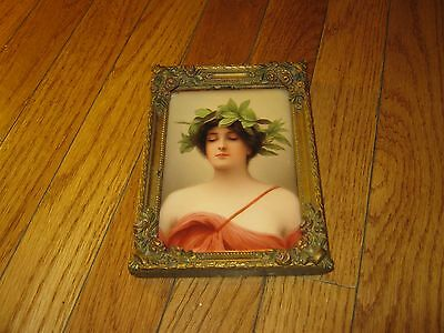 Rare Meissen Porcelain Woman Photo Plaque Wood Frame Handpainted signed Wagner