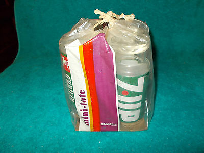 4-1970s NOS 14OZ 7up Soda Uncola Wet Wild Drinking Glasses Anchor Hocking w/pack