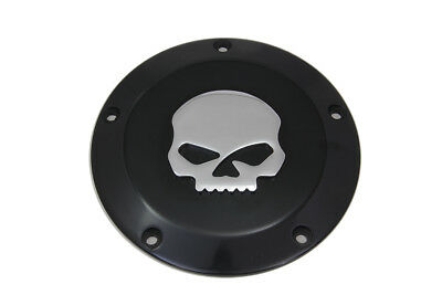 Skull Derby Cover Black,for Harley Davidson motorcycles,by V-Twin
