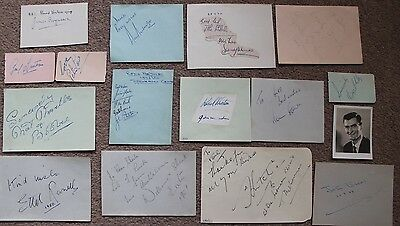 Bundle of STAGE & SCREEN Assorted Hand SIGNED Book Pages 20+ Autographs