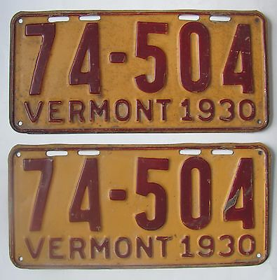 1930 Vermont car license plate NICE PAIR