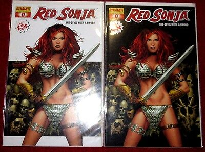 RED SONJA #0 (NM-) 2 different covers by Greg Land! Dynamite Entertainment 2005