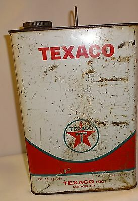 Texaco 1 Gallon Empty Can  with Handle and Cap 1966 Vintage