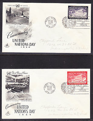 """United Nations 1954 """"Artcraft"""" -U.N. Day TWO  First Day Covers addressed"""