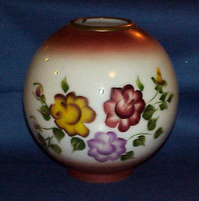 Vintage Gwtw Oil Lamp Hand Painted Floral 9 Inch Glass Globe Ball Shade Must See