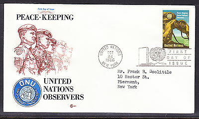 """United Nations 1966 Peace Keepers """"Cachets"""" First Day Cover addressed"""