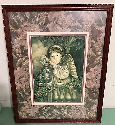 Homco Home Interiors Angel Unaware Picture Donna Richardson Artist 21.5 x 17.5