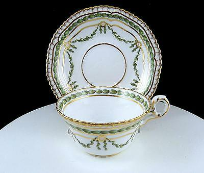 """Copeland Spode #7801R England Hand Painted Green Leaves & Gold 2"""" Cup & Saucer"""