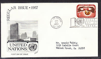 """United Nations """"Fleetwood"""" 1967 - 5c Regular Issue First Day Cover addressed"""