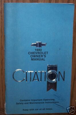 1980 Chevrolet Citation Owners Manual
