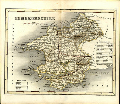 1846 Archer & Dugdale Antique Map of the Welsh County of Pembroke