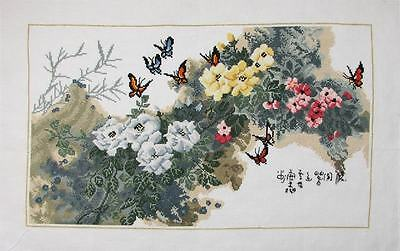 New Finished Completed Cross Stitch - Flowers - Butterfly - C2