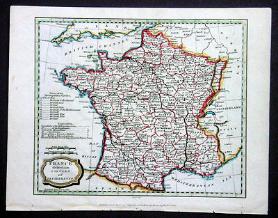 1806 Barlow Antique Map of France in Departments