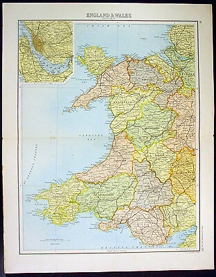 1890 Bartholomew Antique Map Counties of Wales