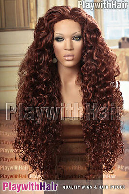 Massive Full Flowing Skin Top Wig Auburn & Copper Red