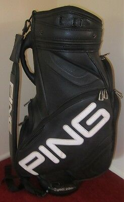 GENUINE PING - Golf Bag - Black Leather - Very Good Condition - Clean Throughout