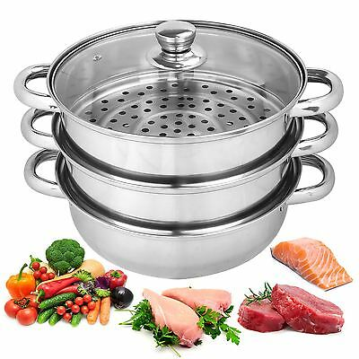 25cm 3 Tier Stainless Steel Steamer Cooker Pot Set Pan Cook Food Glass Lids