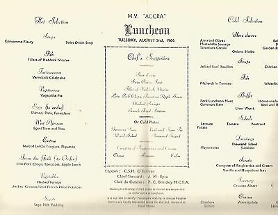 M.V. Accra Luncheon Menu August 2nd 1966