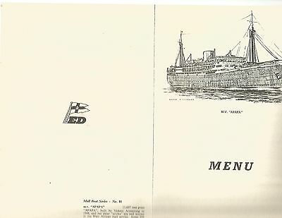 M.V. Accra Luncheon Menu August 12th 1966