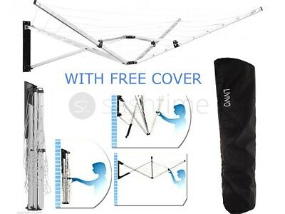 5 Arm Folding Wall Mounted Clothes Airer Dryer Washing Line Garden W Free Cover