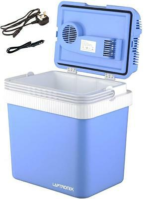 24L Portable Cool Box Electric Cooler Car Van Ice Fridge With 12V & 240V Adapter