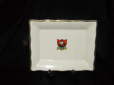 ANTIQUE CRESTED CHINA RECTANGULAR TRAY ~ Isle of Wight