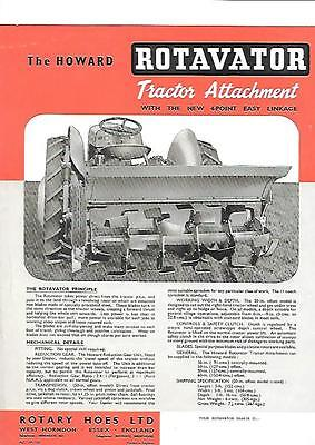 ROTARY HOES LTD. HOWARD ROTAVATOR TRACTOR ATTACHMENT BROCHURE/SHEET  @ LATE 50's